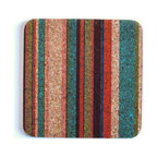 Gail Garcia Dinner-Ware - Square Trivet, Tropical Stripe - This isn't your mother's trivet. New York designer Gail Garcia puts her own hip, happy spin on this handy kitchen standby. Printed front and back on environmentally friendly cork, this trivet is naturally heat resistant and washable, to keep your table looking good — in more ways than one.