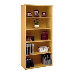 "Bush Business - Open Bookcase w 5 Shelves in Light Oak - Seri - Transform a room into your personal library with a spacious and open bookcase with five shelves. Wider styling gives you plenty of room to create a decorative landscape with beloved classics intermingling with collectibles. Professional light oak finish is suitable for offices, too. With three adjustable shelves and two fixed shelves, the Light Oak Series C Double Bookcase offers a wealth of storage space with the strength and durability to go the distance! The 36 inch wide bookcase displays a warm Light Oak finish. * Two fixed shelves for stability. Three adjustable shelves for flexibility. Matches 71"" Hutch in height and depth. Ships ready for easy assembly35.59 in. W x 15.354 in. D x 72.834 in. H"