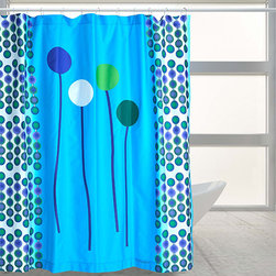 """Balloons Aqua - """"Balloons Aqua"""" bring blues and greens into your bath color scheme. A nylon or other fabric liner is recommended."""
