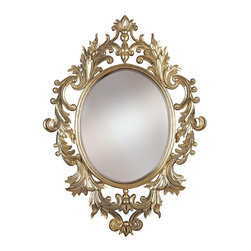 Frontgate - Louis Wall Mirror - Beveled wall mirror. Frame is crafted of durable resin. Gold leaf finish with silver highlights. Can be mounted horizontally or vertically. Ornate artisan detailing along the frame of our beveled Louis Wall Mirror makes it a true visual delight. Full of botanical details, this ravishing oval-shaped mirror comes in an elegant hand-applied gold leaf finish.  .  .  .  .
