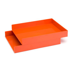Stackable Inboxes, Orange, Set Of 2