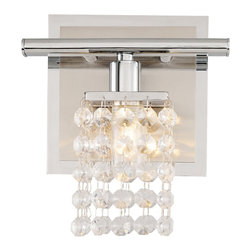 """Vienna Full Spectrum - Contemporary Sparkle Chrome 6"""" Wide Crystal Bathroom Light Fixture - Dazzle your guests with this elegant one light bathroom light fixture. The light features a chrome finish with a satin back plate. There are sixteen crystal strings on the light for a sparkling look in your bathroom decor. Transform your bathroom with this crystal bathroom fixture. Includes one 40 watt G9 bulbs. 6"""" wide. 7 1/4"""" high. Extends 4 1/4"""" from the wall.  Chrome finish.  Satin backplate.  Sixteen crystal strings per light.  Includes one 40 watt G9 bulbs.   6"""" wide.   7 1/4"""" high.   Extends 4 1/4"""" from the wall."""