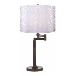 Design Classics Lighting - Modern Swing Arm Lamp with Silver Shade in Bronze Finish - 1902-1-604 SH9497 - Contemporary / modern remington bronze 1-light table lamp. Swing arm has a maximum 9-inch extension. Takes (1) 100-watt incandescent three-way bulb(s). Bulb(s) sold separately. UL listed. Dry location rated.