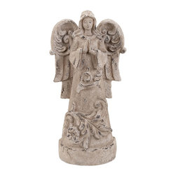 Unique Garden Angel with Classic Design - Uplift the appearance of your garden or outdoor area with this striking Fiber Glass Garden Angle which features a classic design. This beautiful garden accessory features a classic design and sports a beautiful and unique style that can complement all kinds of outdoor decors. The angle is crafted with fine attention to detail and includes exquisite styling that makes it more attractive in appearance. This beautiful angle has a wonderful style and vintage cream finish that makes it more appealing in appearance and ensures it can complement all kinds of settings and decors. Made from fiber glass of top quality, this decorative angle has a robust and long lasting construction that ensures it does not get worn out even under the adverse weather.. It comes with a dimension: