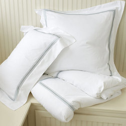 Ballard Designs - Amelie Embroidered Duvet Cover - Spa King - Coordinates with our Amelie Sheets & Bath Collection. Layers well with all of our bedding collections.. Hidden button closure. Machine washable. The classic white bed accented with a fresh stripe of color. Our Amelie Duvet is sewn of 240-thread count cotton and finished in your choice of five embroidered border colors. Add a monogram to the shams for a custom look. Amelie Duvet features: .  .  .  *Monogramming available for an additional charge.*Allow 3 to 5 days for monogramming plus shipping time.*Please note that personalized items are non-returnable.