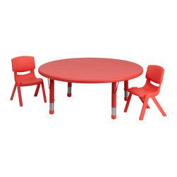 Flash Furniture - Flash Furniture 45 Inch Round Adjustable Red Plastic Activity Table Set - This table set is excellent for early childhood development. Primary colors make learning and play time exciting when several colors are arranged in the classroom. The durable table features a plastic top with steel welding underneath along with height adjustable legs. The chair has been properly designed to fit young children to develop proper sitting habits that will last a lifetime. [YU-YCX-0053-2-ROUND-TBL-RED-R-GG]