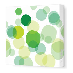 "Avalisa - Imagination - Bubbles Stretched Wall Art, 28"" x 28"", Green - Break out the bubbly! Hang these varying tones of bright translucent colors to make a light and airy style statement in your favorite room."