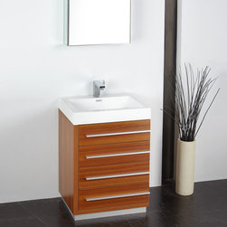 "Fresca - Fresca Livello 24 Teak Modern Bathroom Vanity w/ Medicine Cabinet - The Livello Teak 24"" four drawer vanity from Fresca features slow close hinges to prevent slamming, and a durable acrylic sink and countertop that's less likely to distress under heavy use. Minimally designed to accentuate your bathroom, the Livello vanity comes complete with a medicine cabinet for additional storage. Livello Bathroom Vanity Details:   Dimensions: Vanity: W 23.38 x D 18.63 x H 33.5, Medicine Cabinet: H 26 x W 19.5 x D 5"" Material: MDF with Acrylic Counter top/Sink with Overflow Finish: Teak Single hole faucet mount Slow closing drawers Includes medicine cabinet Please note: faucet not included"