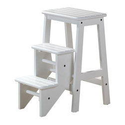 Boraam - 3 Step Wood Step Stool (White) - Finish: WhiteSolid hardwood RTA construction. Useful for reaching high places as step stool. Extra seating with steps stored under stool. Safety latch keeps steps stored securely. Assembly required. 24 in. L x 14.5 in. W x 24 in. H (21 lbs.)