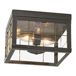 Irvin's Tinware - Double Ceiling Light with Brass Bars in Country Tin - This versatile ceiling light is equally at home whether installed individually in an upstairs hallway or as a pair in a downstairs entryway. It always contributes that special warmth to your home.