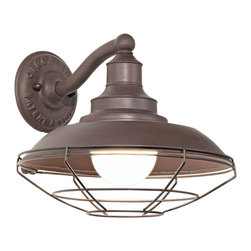 "Troy - Circa 1910 Collection 12"" Wide Outdoor Wall Light - A rugged look inspired by early 20th century industrial lighting designs this piece will give a new dimension to your outdoor spaces. Ideal for walkways or garage areas it features an old rust finish over a hand-forged and cast iron frame and wall plate. A classic wire mesh industrial look encloses the bulb. Takes one 100 watt bulb (not included). 12"" wide. 10"" high. Extends 12 1/2"" from the wall.  Old rust finish.  Takes one 100 watt globe bulb (not included).   12"" wide.  10"" high.  Extends 12 1/2"" from the wall."