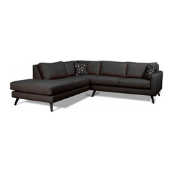 True Modern - Dane Corner Sectional Sofa with Bumper, Charcoal - This corner sectional sofa ensures you and your guests have plenty of elbow room. It's designed to inspire lounging with a gently slanted back and lots of amply padded cushions. Plus, you'll love its cool, retro style. It looks as though it's just waiting for a round of martinis to arrive.