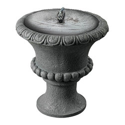 """Kenroy Home - Garden Urn Solar Powered Fountain - The Garden Urn decorative fountain is solar powered so it can be placed just about anywhere. It features clasic styling and includes the water pump. In a concrete stone finish. From the Kenroy Home fountain collection. 21 high. 12"""" wide.  Garden Urn fountain.  Solar powered.  No need for wiring or plugs.  Includes water pump.  Faux concrete stone finish.  Lightweight resin construction.  Easy to move and position.  Design by Kenroy Home.  21 high.   12"""" wide."""