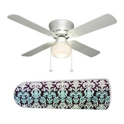"""Aqua Fade Damask 42"""" Ceiling Fan and Lamp - 42-inch 4-blade ceiling fan with a dome lamp kit that comes with custom blades. It has a white flushmount fan base. It has an energy efficient 3-speed reversible airflow motor for year long comfort. It comes with complete installation/assembly instructions. The blades can be cleaned with a damp cloth. It is made with eco-friendly/non-toxic products. This is brand new and shipped in the original box. This is not a licensed product, but is made with fully licensed products. Note: Fan comes with custom blades only."""