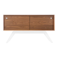 Eastvold Furniture - Elko Credenza Small, Walnut, White Base - It might look like a prized midcentury collectible, but this credenza is custom-crafted in Minnesota in your choice of base colors. Reinforced mitered joints allow the walnut grain to wrap the exterior in a continuous sweep, while adjustable shelves and wire chases inside offer flexible storage for the den, dining room or office.