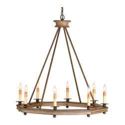 Kathy Kuo Home - Bonfire Simple Open Octagonal Ring Rustic 8 Light Chandelier - A simple shade and natural materials make this the perfect chandelier for a room that demands either.  The octagonal ring constructed of carved wood with a washed finish combined with wrought iron in an antique finish gives it a clean, casual modern lodge appeal.