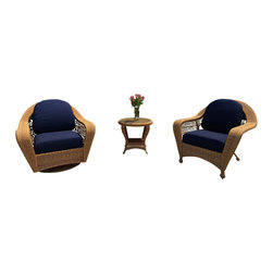 Forever Patio - Catalina 3 Piece Wicker Chat Set, Straw Wicker, Navy Cushions - The 3 Piece Catalina Chat Set with Blue Sunbrella® Cushions (SKU FP-CAT-3CH-ST-CN) is perfect for smaller patio spaces or wherever some extra seating and style are needed. This set features Straw wicker with a full round design that creates a complex and luxurious look. Every strand of this wicker is made from High-Density Polyethylene (HDPE) and is infused with its natural color and UV-inhibitors that prevent cracking, chipping and fading ordinarily caused by sunlight. The set is supported by a thick-gauged, powder-coated aluminum frame that makes it extremely durable and resistant to corrosion. Also included are cushions covered in fade- and mildew-resistant Sunbrella® fabric. The swivel and lounge chairs are designed with full-sized seating and thick cushions to make your time outdoors incredibly comfortable.