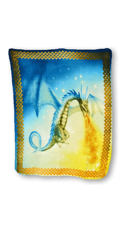 Zeckos - Super Soft Fire Breathing Dragon Fleece Throw Blanket 60 x 50 in. - This fleece throw blanket is the perfect size for avoiding a chill curled up on the couch or hanging around the campfire. It features a fire breathing dragon in flight with a Celtic knotwork border. The blanket measures 60 inches (5 feet) long, 50 inches (4.2 feet) wide, and the edges are finished with a blanket stitch. It is 100% polyester, and recommended care instructions are to machine wash in cold water and air dry. It makes a great birthday or holiday gift that is sure to be loved.