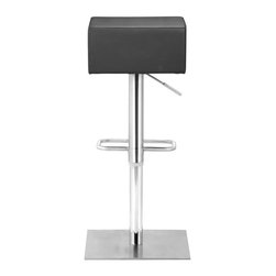 Butcher Barstool, Black - Chunky, manly, and modern, the Butcher barstool has an adjustable stainless steel frame with a leatherette seat cushion.