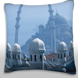 Custom Photo Factory - Skyline of Istanbul, Turkey   Polyester Velour Throw Pillow - Skyline of Istanbul, Turkey  18 x 18 Inches  Made in Los Angeles, CA, Set includes: One (1) pillow. Pattern: Full color dye sublimation art print. Cover closure: Concealed zipper. Cover materials: 100-percent polyester velour. Fill materials: Non-allergenic 100-percent polyester. Pillow shape: Square. Dimensions: 18.45 inches wide x 18.45 inches long. Care instructions: Machine washable