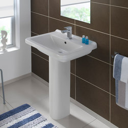 "Logic-50 - Self-rimming and/or counter-top ceramic sink without overflow. Sink measures 19.7"" L x 15.7"" W x 3.5"" H"