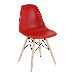Modway - Pyramid Dining Side Chair in Red - These molded plastic chairs are both flexible and comfortable, with an exciting variety of base options. Suitable for indoors or out, appropriate for the living and dinning room, these versatile chairs are a great addition to any home d'cor statement.