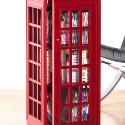 "Holly & Martin - Jasper Phone Booth Cabinet - There will never be a super hero running out, and you won't be able to shove twelve of your closest friends into it, but this cool retro styled red phone booth media storage cabinet sure will be a conversation piece.  This multi-media cabinet can house all your media.  Have it all in one spot in style with this phone booth media storage cabinet.  We can guarantee you've never seen a CD storage tower quite like this one!  Complete with internal shelving and royal crest on the top! * Holds approx. 290 CDs, 72 VHS, or 136 DVDs. 14.13""W x 14.63""D x 44.5""H"