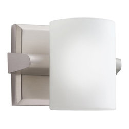 KICHLER - KICHLER 5965NI Tubes Modern / Contemporary Wall Sconce - Sleek and contemporary. A satin etched white glass cylinder is set into a carved scoop that lines the edge of an extruded support bar. The finish is a brushed nickel which complements warmer interiors. 1 light, 60 watt max. G9 (lamp included). U.L. listed for damp location. U.S. Patent Pending.
