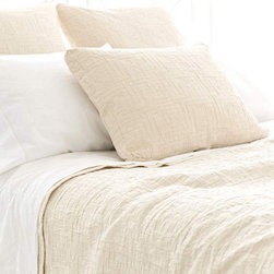 Pine Cone Hill - baja matelasse coverlet (ivory) - Interlocking rectangles of soft cotton are an unexpected, textural touch, on a goes-with-anything neutral coverlet.��This item comes in��ivory.��This item size is��various sizes.