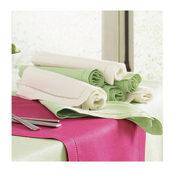 Frontgate - SFERRA Festival Set of 4 Dinner Napkins - 100% medium-weight linen. Placemats and napkins sold in sets of four. Find your size tablecloth with our measuring guide.. Machine wash gentle cycle with gentle detergent. Dinner and cocktail napkins come in non-monogrammed or monogrammed styles. Woven in Europe and sewn with an elegant hand thread-drawn hemstitched hem, our SFERRA Festival Table Linens come in a range of bold, luscious colors that are sure to complement your favorite dinnerware.  .  . .  . . Made in Italy by SFERRA. Please note: Personalized items are non-returnable.