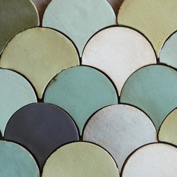 Tabarka - Shapes fan - Mediterranean style, hand-crafted terra cotta tile available in any field color. Can be used as wall or floor tile.