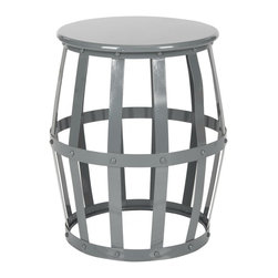 Safavieh - Rinaldo Stool - Grey - A modern take on a classic round stool, Rinaldo by Safavieh is an open and airy piece that works exceptionally well in small or dark rooms. With its open lattice design finished in high gloss grey, this iron stool does double duty as an extra perch or a side table. Use the Rinaldo stool in a family room, bedroom or even to hold towels in the master bath.