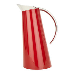 Glamour Red Thermal Carafe - A carafe with monumental achievements. The double-walled vacuum tempered carafe grants long lasting thermal insulation. In fact, it keeps drinks hot for longer than 12 hours and cold for over 24 hours. The gleaming red body flows into a chrome-plated top and handle. A slight press on the lid opens the carafe for safe pouring.Designed by Andreas Seegatz. Made in Italy.