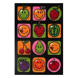 """Fun Rugs - Kids Smiley World 3'3""""x4'10"""" Rectangle Multi Area Rug - The Smiley World area rug Collection offers an affordable assortment of Kids stylings. Smiley World features a blend of natural Multi color. Machine Made of 100% Nylon the Smiley World Collection is an intriguing compliment to any decor."""