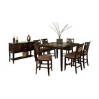 Steve Silver Co. - Montblanc Table With 6 Chairs and Server - Includes Table, 1 Leaf, 6 Chairs & Server. 18 in. leaf. Expands to 54 in. L. Cracked glass inserts. Server features 2 doors, 2 drawers & silver finished hardware accents. Multi-step Merlot finish. Contemporary style. Corner block construction. Tongue and groove joints. Select hardwood solids material. Some assembly required. Honey beige fabric.
