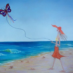 Kite Flying Skinny B (Original) by Darlene Kasper - One of my daughters is really skinny with blonde hair.  She was flying a kite one day with her daughter on this image just developed in my head.
