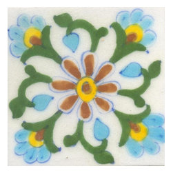 "Knobco - Tiles 3X3"" Brown, Yellow & Turquoise Flowers & Green Leaf W/ White Base - Brown, Yellow and Turquoise Flowers and Green leaf with White Base Tiles from Jaipur, India. Unique, hand painted tiles for your kitchen or other tiling project. Tile is 3x3"" in size."