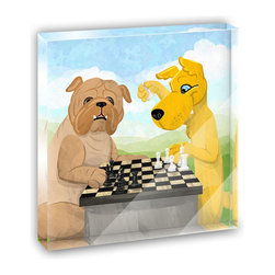 "Made on Terra - Dogs Playing Chess Mini Desk Plaque and Paperweight - You glance over at your miniature acrylic plaque and your spirits are instantly lifted. It's just too cute! From it's petite size to the unique design, it's the perfect punctuation for your shelf or desk, depending on where you want to place it at that moment. At this moment, it's standing up on its own, but you know it also looks great flat on a desk as a paper weight. Choose from Made on Terra's many wonderful acrylic decorations. Measures approximately 4"" width x 4"" in length x 1/2"" in depth. Made of acrylic. Artwork is printed on the back for a cool effect. Self-standing."