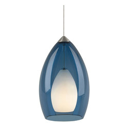 Tech Lighting - Freejack Fire Pendant - Rich translucent Murano glass surrounds a small frost raindrop glass. Shade color available in Amber, Cobalt, Havana Brown, Olive Green, Red, Smoke or Steel Blue. Finish available in Chrome, Satin Nickel or Antique Bronze. Includes one low voltage 35 watt halogen bipin lamp and six feet of field-cuttable suspension cable(available in custom lengths). ETL listed.