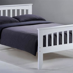 Night & Day Furniture - Sasparilla Bed in White (Full) - Choose Bed Size: FullBed includes head/foot, rails, slats. 100% Malaysian Rubberwood construction. Warranty: 5 years. White finish. Twin Bed: 57 in. W x 80.6 in. D x 37.4 in. H (33.5 lbs.). Full Bed: 57 in. W x 80.6 in. D x 37.4 in. H (40.6 lbs.)Well, that's a pretty cool old-fashioned word for a pretty cool old-fashioned soft drink. Anyway we thought we had a pretty cool old-fashioned bed that needed a pretty cool old-fashioned name and Sasparilla seemed just right.Take care of your kids' needs for beds, bunks and storage with our Zest Bedroom Collection for Night and Day. Smart quality at extraordinary value. We have gone to great lengths to design and engineer this complete line to keep your cost down and your pleasure up.