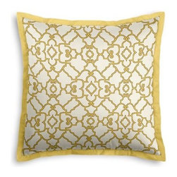 Yellow Scroll Trellis Custom Euro Sham - Popped collars, statement necklaces, crisply ironed pants  it's the little details that complete a perfectly tailored look. And the sharp contemporary edging of the Tailored Euro Sham will do just that for your bed.  We love it in this chic Moroccan style trellis with intricate outlined scrolls of mustard on ivory cotton.