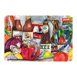 Caroline's Treasures - New Orleans Beers And Spices Kitchen Or Bath Mat 24X36 - Kitchen or Bath COMFORT FLOOR MAT This mat is 24 inch by 36 inch.  Comfort Mat / Carpet / Rug that is Made and Printed in the USA. A foam cushion is attached to the bottom of the mat for comfort when standing. The mat has been permenantly dyed for moderate traffic. Durable and fade resistant. The back of the mat is rubber backed to keep the mat from slipping on a smooth floor. Use pressure and water from garden hose or power washer to clean the mat.  Vacuuming only with the hard wood floor setting, as to not pull up the knap of the felt.   Avoid soap or cleaner that produces suds when cleaning.  It will be difficult to get the suds out of the mat.