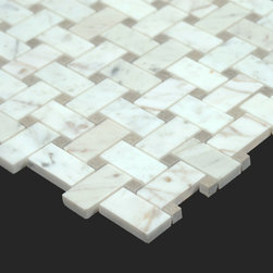 Bianco Carrara White Marble Carrera Baskeweave Mosaic - The Bianco Carrara collection or white Carrara Collection allows you to play with colors for your interior. Besides getting a lovely option of pure white on tile, this collection also features a white grey hue to try. With these two colors you can create a modern or classic looking theme in your home according to preference.