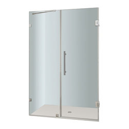 Aston - Aston Nautis 44x72, Completely Frameless Hinged Shower Door, Stainless - The Nautis brings simplistic sophistication to your next bath renovation. This modern shower fixture consists of a fixed wall panel paired with a swinging hinged door to create a beautiful completely frameless alcove unit that instantly upgrades your bath.. The Nautis is constructed with 10mm ANSI-certified clear tempered glass, premium leak-seal clear strips and is engineered for reversible left or right hand installation.  Base is not included.