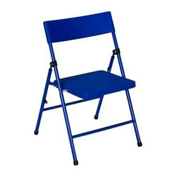 Cosco Office - Kids Folding Chair in Blue - Set of 4 - Set of 4. Multi-functional. Ideal for art and craft project, tea party and birthday. Saves time with easy to clean resin seat and back. Saves space with folding frame. Durable construction and easy-to-clean surface. Great for snacks, craft, game and more. Low maintenance. Safe and pinch-free hinge. Strong and durable steel frame with powder coated finish. Warranty: One year. 14 in. W x 15.75 in. D x 22.62 in. H (3.75 lbs.)