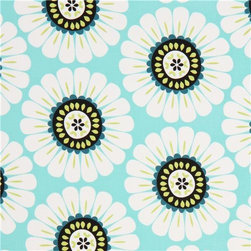 turquoise flower fabric by Michael Miller daisy - flower fabric with big white daisies from the USA