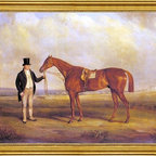 """Senior John Ferneley-18""""x24"""" Framed Canvas - 18"""" x 24"""" Senior John Ferneley A Gentleman Holding Dangerous, the Winner of the 1833 Derby framed premium canvas print reproduced to meet museum quality standards. Our museum quality canvas prints are produced using high-precision print technology for a more accurate reproduction printed on high quality canvas with fade-resistant, archival inks. Our progressive business model allows us to offer works of art to you at the best wholesale pricing, significantly less than art gallery prices, affordable to all. This artwork is hand stretched onto wooden stretcher bars, then mounted into our 3"""" wide gold finish frame with black panel by one of our expert framers. Our framed canvas print comes with hardware, ready to hang on your wall.  We present a comprehensive collection of exceptional canvas art reproductions by Senior John Ferneley."""