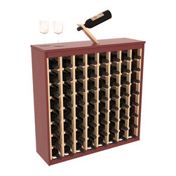 Two Tone 64 Bottle Deluxe Wine Rack in Pine with Cherry/Natural Stain - Styled to appear as wine rack furniture, this wooden wine rack will match existing decor while storing 64 bottles of wine. Designed to look like a freestanding wine cabinet, the solid top and sides promote the cool and dark storage area necessary for aging wine properly. Your satisfaction and our racks are guaranteed.  All Two-Tone racks include a professional grade eco-friendly satin finish and come with a free matching magic bottle balancer.