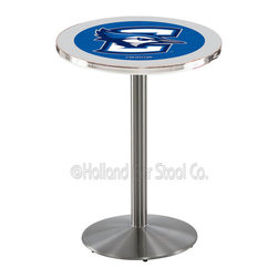 Holland Bar Stool - Holland Bar Stool L214 - Stainless Steel Creighton Pub Table - L214 - Stainless Steel Creighton Pub Table belongs to College Collection by Holland Bar Stool Made for the ultimate sports fan, impress your buddies with this knockout from Holland Bar Stool. This L214 Creighton table with round base provides a commercial quality piece to for your Man Cave. You can't find a higher quality logo table on the market. The plating grade steel used to build the frame ensures it will withstand the abuse of the rowdiest of friends for years to come. The structure is 304 Stainless to ensure a rich, sleek, long lasting finish. If you're finishing your bar or game room, do it right with a table from Holland Bar Stool. Pub Table (1)