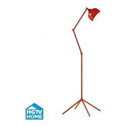 Joshua Marshal - One Light Orange Orange Metal Shade Floor Lamp - One Light Orange Orange Metal Shade Floor Lamp